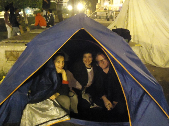 Tenting tonight in the old campground: In Midan Tahrir, November 27