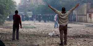 Protesters confront Central Security Forces, Mohamed Mahmoud Street, Cairo, November 2011