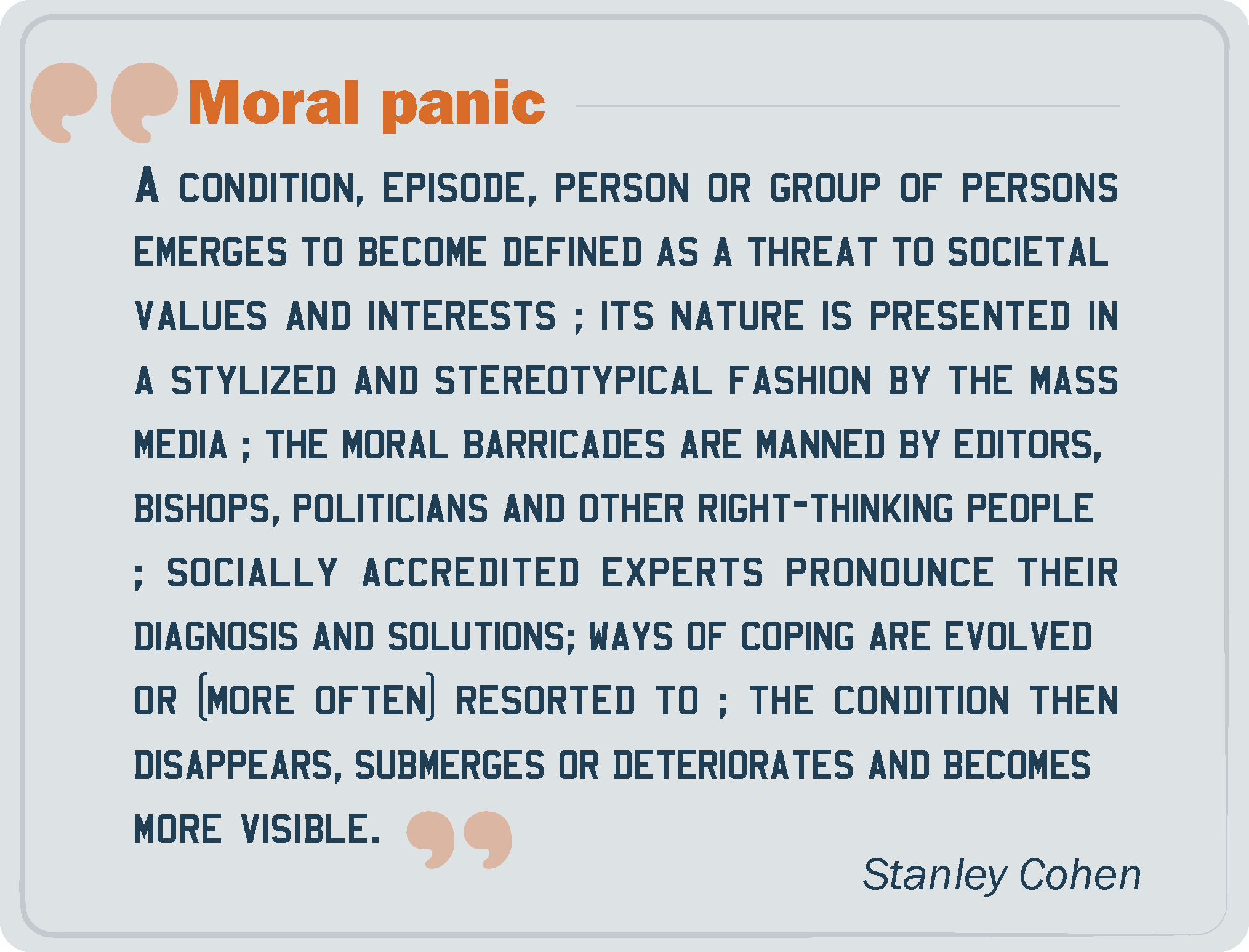 the definition and examples of moral panic A moral panic is a public panic over an issue  harwoods and harebreaks for examples of moral panic and paranoia leading to  folk devils and moral.