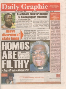 Moral entrepreneur: Ghanaian newspaper, 2011
