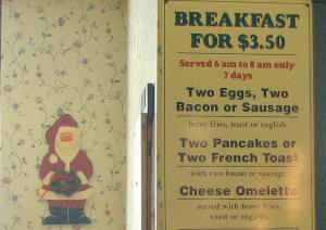 An old menu from the Mug and Muffin, Harvard Square