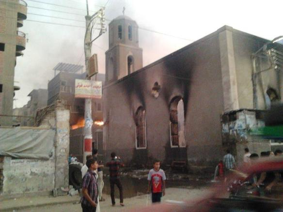 August 16: Church burned  in Mallawy, Minya governorate. From @CoptyAfandy