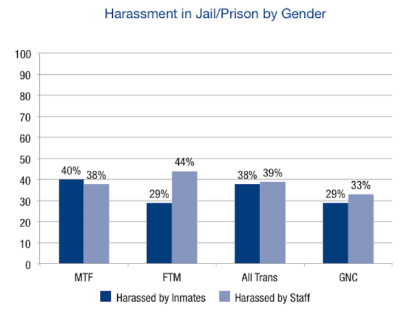 Harassment of trans* prisoners: From a report by the National Center for Transgender Equality and the National Gay and Lesbian Task Force, http://www.thetaskforce.org/downloads/reports/reports/ntds_full.pdf