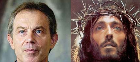 Tony Blair as Prime Minister (L) and after (R): Forgive them, Father, for they know not who can replace me