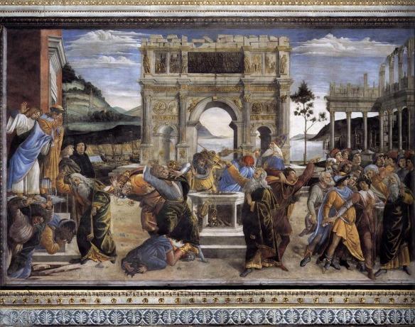 Revenge: Sandro Botticelli, Moses Punishes the Rebels Korah, Dathan and Abiram, 1481-2
