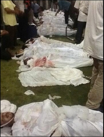 Bodies piled in Al-Fateh Mosque, Midan Ramsis, Cairo, August 16: From @ossamaelmahdy