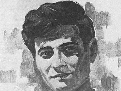Mahmoud Darwish, drawn by Ismail Shammout, 1971
