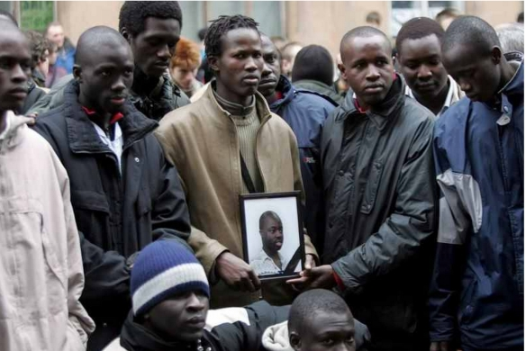 Friends commemorate Lamzar Samba, a 28-year-old Senegaleses student and activist, murdered by neo-Nazis in St Petersburg, April 2006