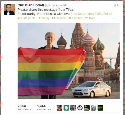 We need to talk about Putin, and then talk some more: Tilda Swinton's PR man urges retweeting her photo