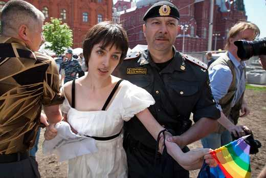 Elena Kostyuchenko, taken into custody at Moscow Pride 2011 after an Orthodox protester struck her with a rock