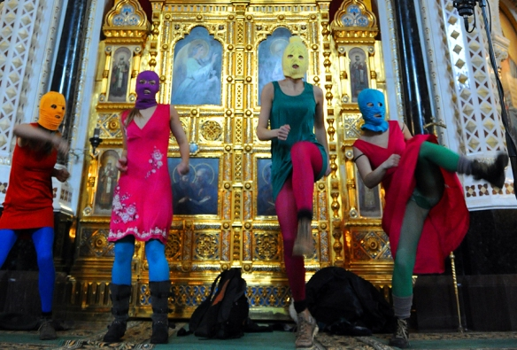Alekseev could never be so anarchistic: Pussy Riot members protest in Christ the Savior Cathedral, Moscow, February 21, 2012