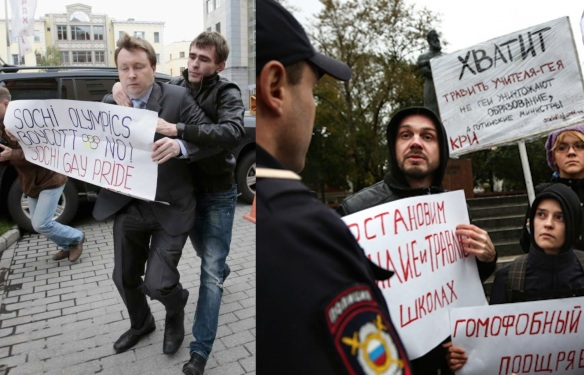 L: Bad but unboring Russian activist holds easily comprehensible sign, Moscow, September 25; R: Good but boring Russian activists hold signs nobody cares about, Moscow, September 24. Police equally unimpressed.