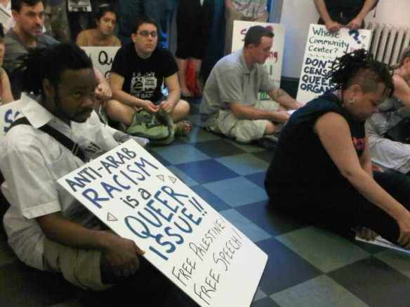 Members of NYC Queers Against Israeli Apartheid stage a sit-in at the New York LGBT Center to protest a Michael Lucas-inspired ban on Palestine-related events, June 8, 2011