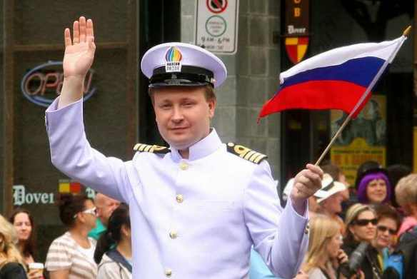 I cover the waterfront: Nikolai Alekseev in full Battleship Potemkin gear, as Grand Marshal of Vancouver Pride, Canada, 2010