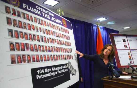 "Nassau Count District Attorney Kathleen Rice announces the results of ""Operation Flush the Johns"" in Mineola, NY, 2013"