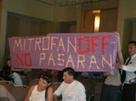 Socialist Resistance tries to protest Mitrofanov's speech, Pride conference, 2007