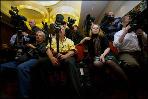 "Media at Alekseev speech before Moscow Pride, 2011: © Charles ""Chad"" Meacham"
