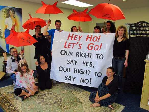Gathering at the Wellington office of the New Zealand Prostitutes Collective, for the International Day to End Violence Against Sex Workers, 2011