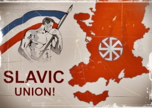Barechested boys feel Slavic Pride: Pan-Slavist poster from the US