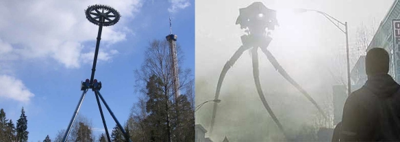 "(L): SpinSpider, version of the Discovery ride, in a Norwegian theme park; (R) Very bad thing (""I don't think they come from around here), from Spielberg's War of the Worlds"