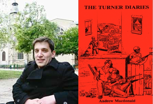 God is our master, guerrillas in our midst: Fabrice Sorlin (L) in front of a church, white-power rights (R) on front of The Turner Diaries