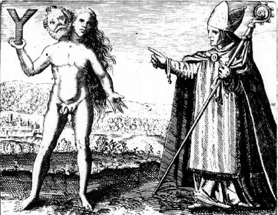 Stop that. None of that here. (Engraving from Michael Maier's Symbola Aureae Mensae, 1617)