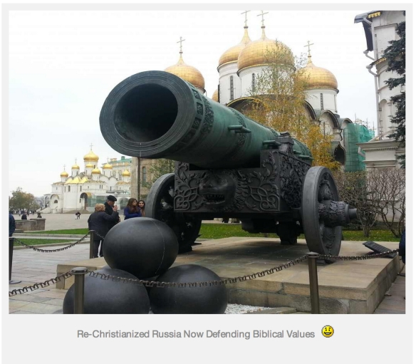 Large phallic object in Kremlin will ejaculate all over Godless homosexual hordes: from Lively's blog (caption and smiley face are his!)
