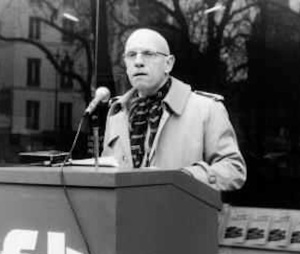 Foucault speaks at a labor union demonstration supporting Solidarity in Poland, April 1981