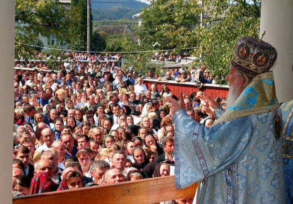 All my children, I: Teoctist (1915-2007), patriarch of the Romanian Orthodox Church, blesses a crowd