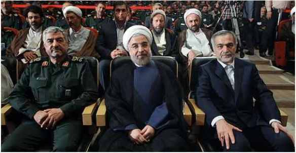 Three bears: Rouhani (center) with Jafari (L) at September speech