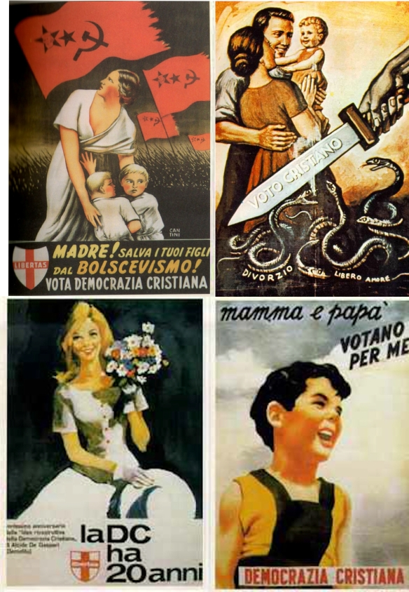 "Top L: ""Mother! Save your children from Bolshevism!"" Top R: ""Vote Christian"" -- while snakes labelled ""Divorce"" and ""Free Love"" hiss at the family. Bottom L: A 20th-anniversary poster for Christian Democracy features a white-clad virgin. Bottom R: ""Mamma and Papa are voting for me."""