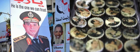 A hero, big and small: SIsi poster (L), Sisi sweets (R)