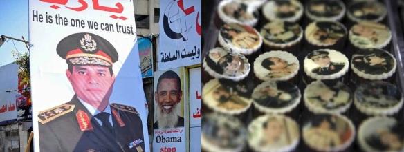 A hero, big and small: SIsi poster (L), Sisi sweets (R)