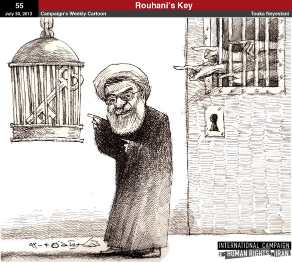 """Rouhani's Key"": Cartoon by Touka Neyestani, at http://www.iranhumanrights.org/2013/07/cartoon_55/ -- a key was Rouhani's campaign symbol"