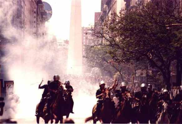 December 2001: Riot police and tear gas used against protesters in Buenos Aires
