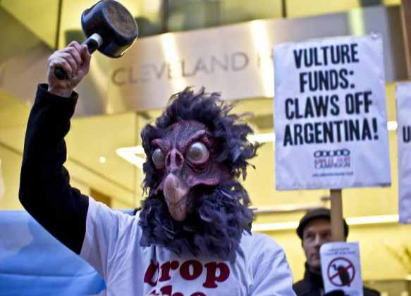 Protestor outside the London offices of Elliott Management, Febuary 2013