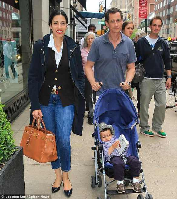 Huma Abedin and Anthony Weiner with terrifying Saracen-Jewish Satanic superchild, Ramadan's Bubeleh, destined to take over the world