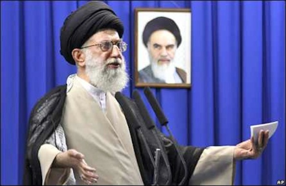 Stop looking at me that way: Khameini speaking in front of predecessor's picture