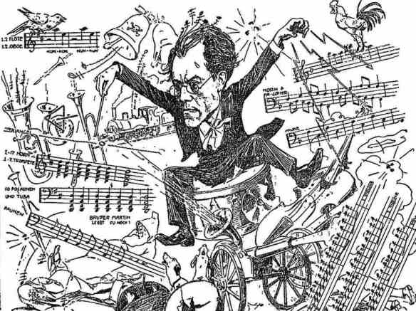 What it felt like, generally: Caricature of Gustav Mahler conducting, 1900