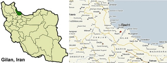 L: Gilan province in Iran; R: Rasht and vicinity