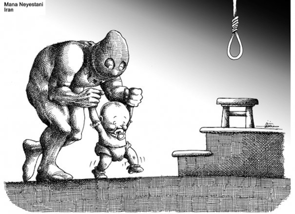 Culture of killing, from the cradle to the grave: Cartoon by Mana Neyestani