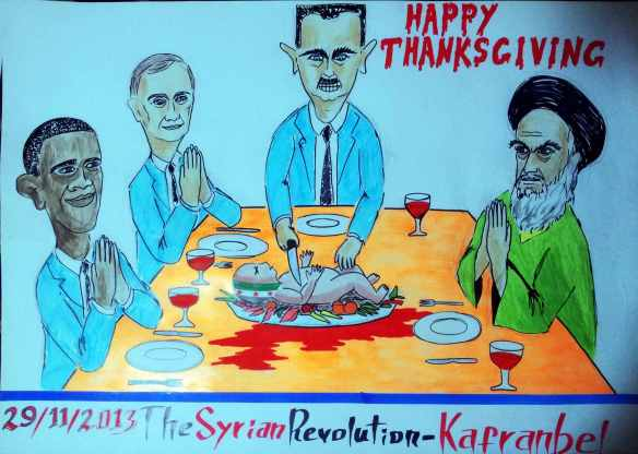 A place at the table: Sign from Kaffranbel, Syria, 2013