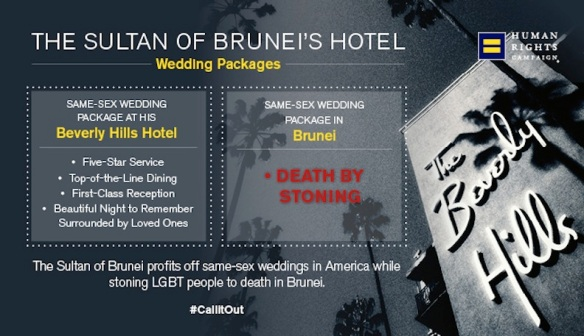 When you come right down to it, isn't every human rights abuse about marriage? Human RIghts Campaign explains same-sex wedding packages in Brunei