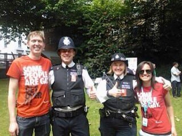 "From ‏@stonewalluk  , 2013: ""London Met Police came to visit us at the Pride family area, St Anne's Churchyard and took a couple of our stickers!"""