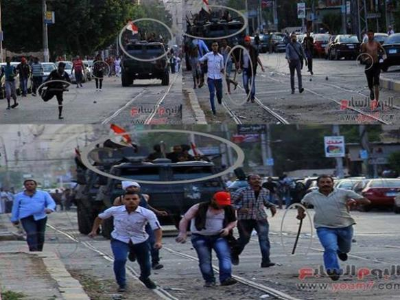Photographs (taken from @Youm7) show coordinated onslaught of civilian attackers and State Security vehicles: via @Amosaadz)