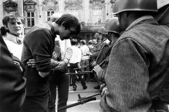 Prague demonstration on the first anniversary of the Soviet invasion of Czechoslovakia, 21 August,1969, by Gilles Caron: © Fondation Gilles Caron