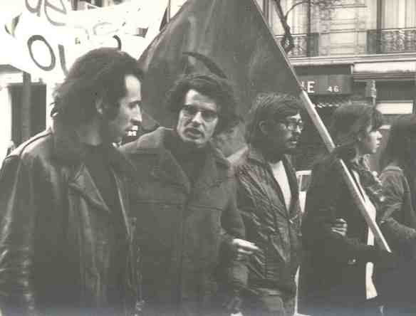 Bensaid (on the left) marches with Alain Krivaine at the funeral of Pierre Overney, a Maoist militant killed by a security guard at the Renault Billancourt factory in Boulogne in February 1972