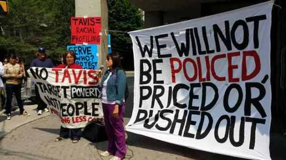 Anti-poverty activists demonstrate against TAVIS in advance of World Pride, June 2014.