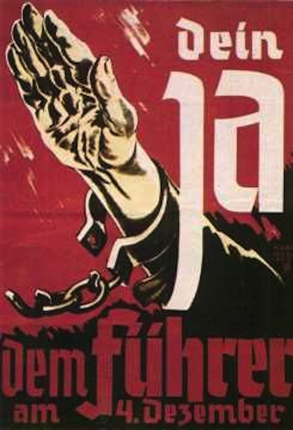"Poster for a ""yes"" vote on annexation to the Reich, in a referendum held in the Sudetenland on December 4, 1938"