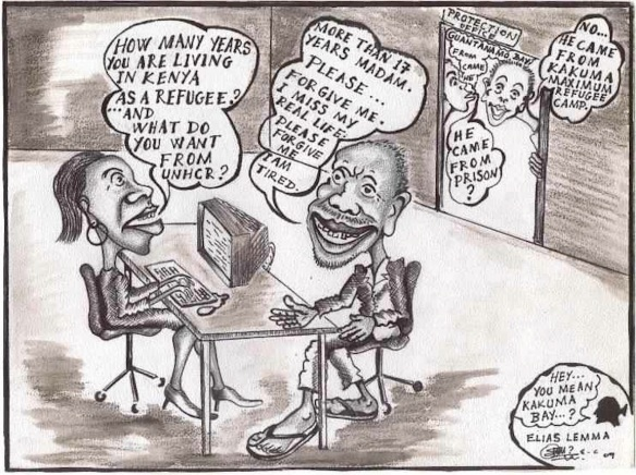 Kakuma as Guantanamo: Cartoon of a UNHCR interview, from kanere.org